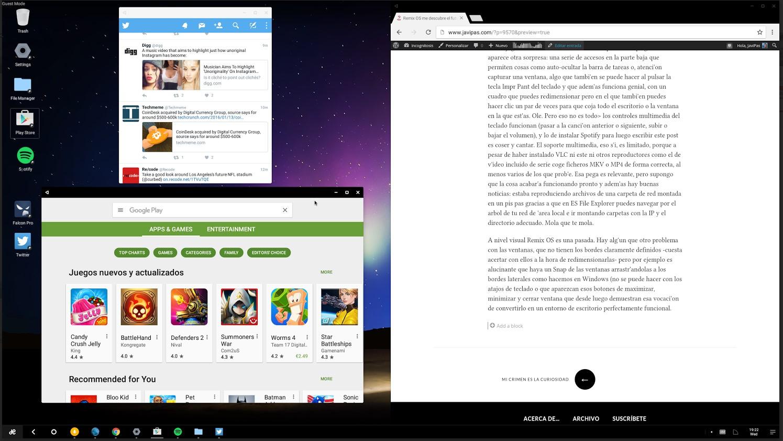 ... y el aspecto del escritorio de Remix OS